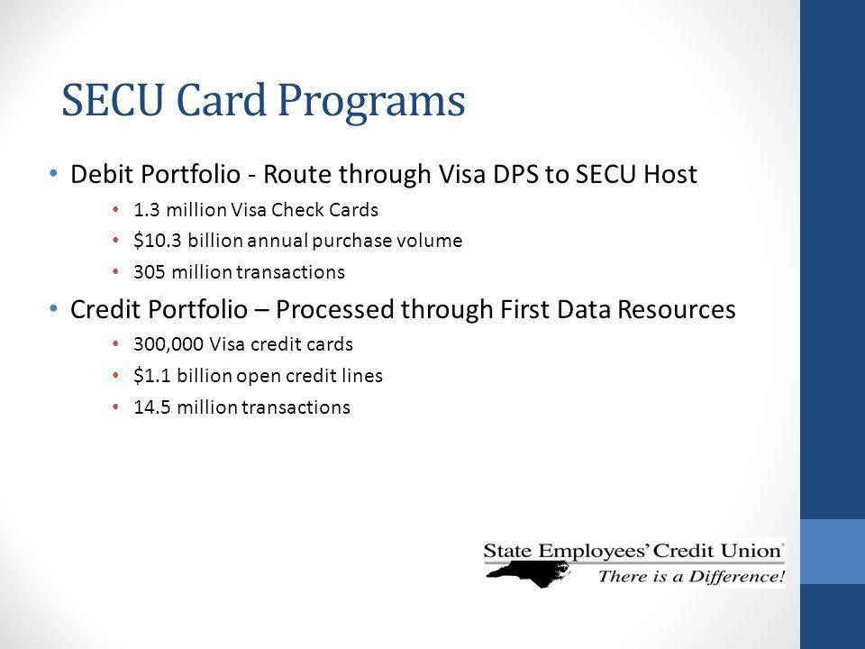 SECU Card Programs Debit Portfolio - Route through Visa DPS to SECU Host. 1.3 million Visa Check Cards.