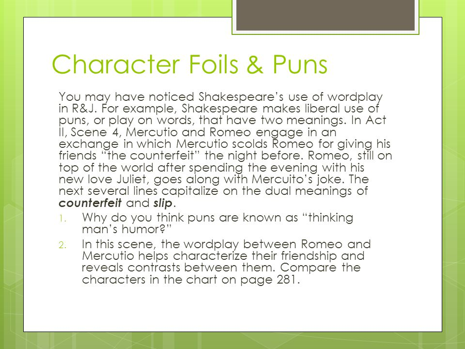 Character Foils & Puns