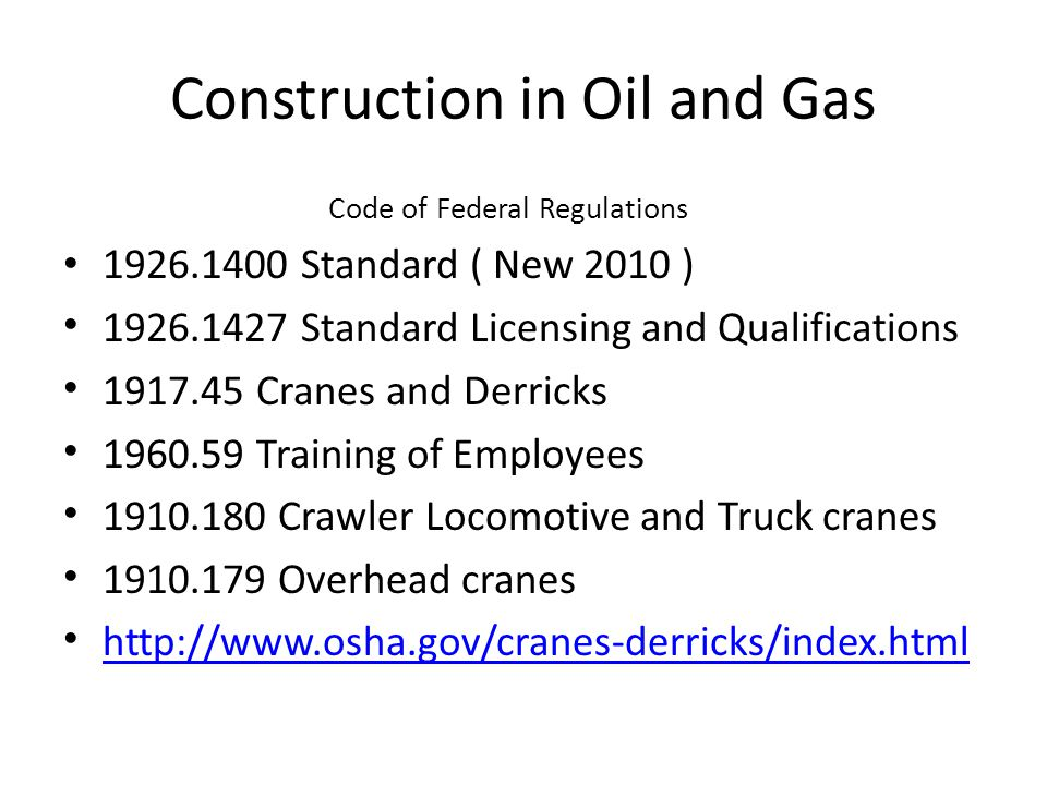Construction in Oil and Gas