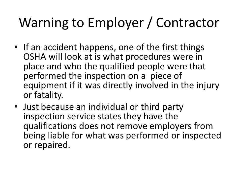 Warning to Employer / Contractor