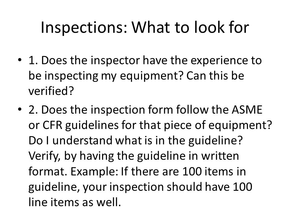 Inspections: What to look for