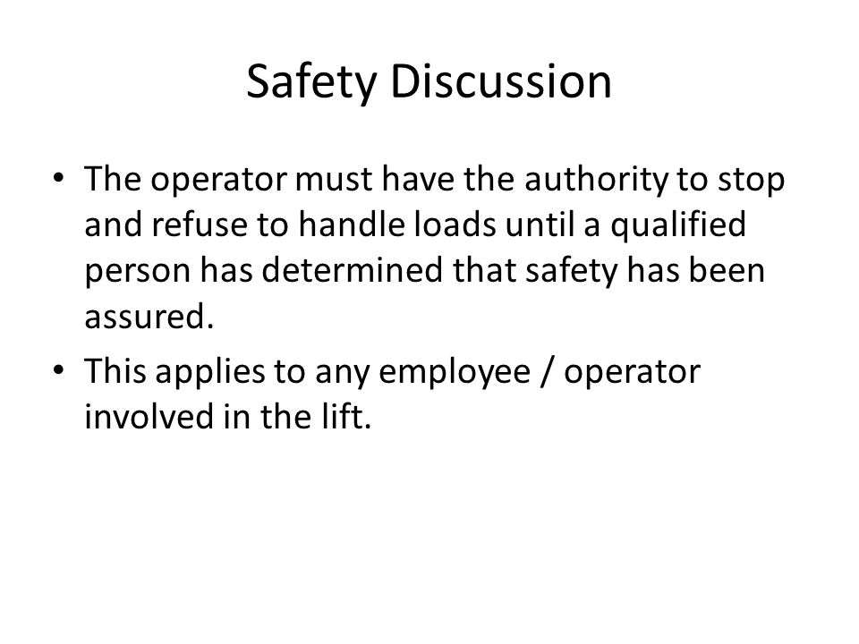 Safety Discussion