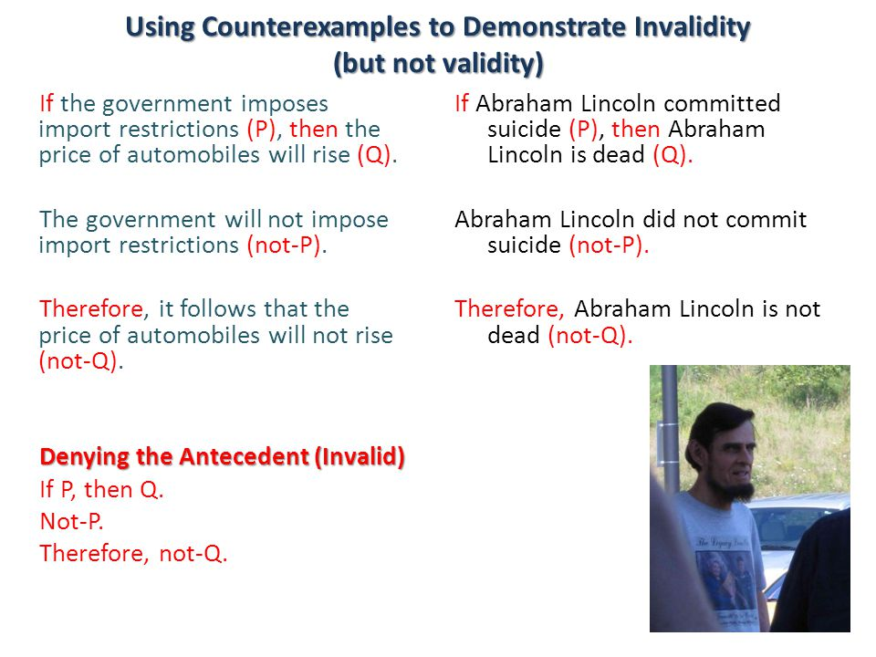 Using Counterexamples to Demonstrate Invalidity (but not validity)