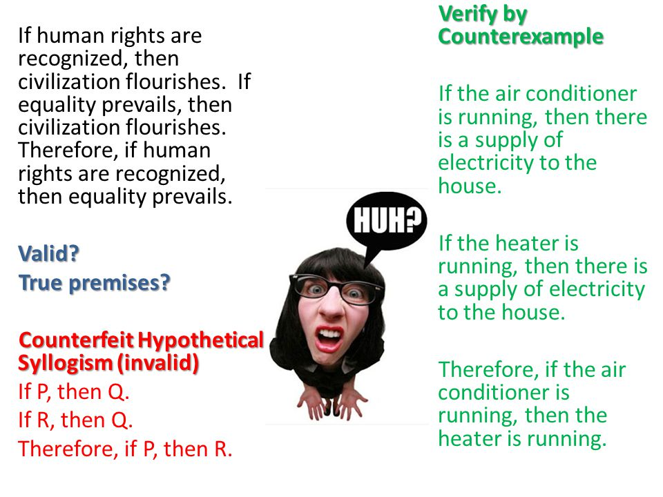 Verify by Counterexample If the air conditioner is running, then there is a supply of electricity to the house. If the heater is running, then there is a supply of electricity to the house. Therefore, if the air conditioner is running, then the heater is running.