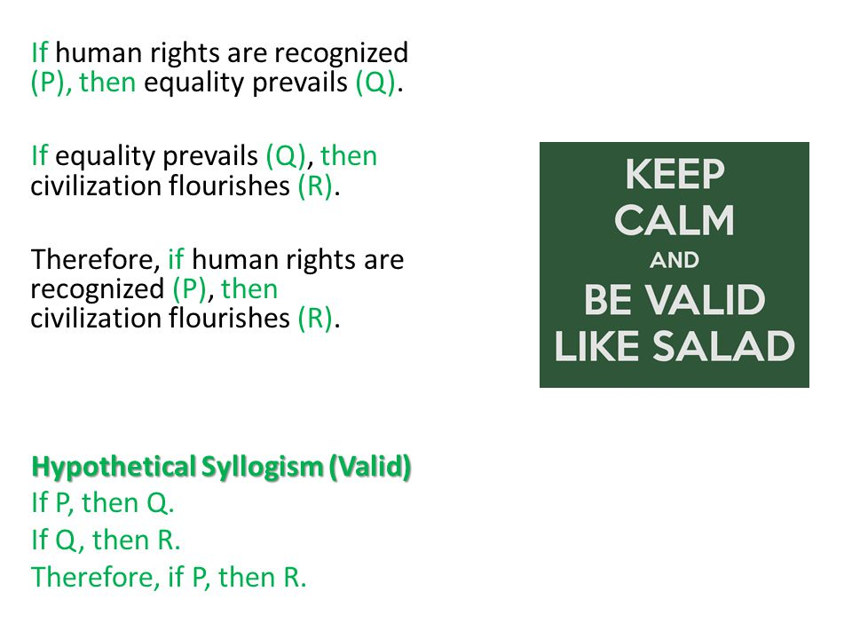 If human rights are recognized (P), then equality prevails (Q).