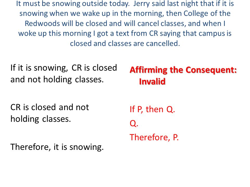 Affirming the Consequent: Invalid If P, then Q. Q. Therefore, P.