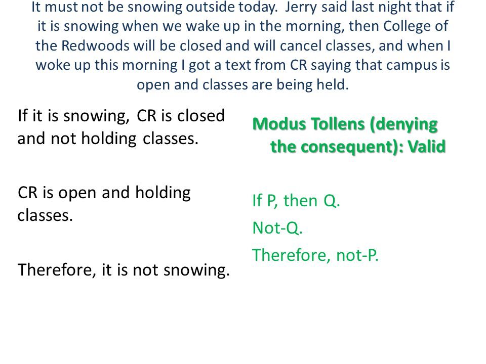 If it is snowing, CR is closed and not holding classes.