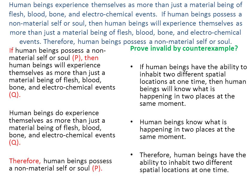 Human beings experience themselves as more than just a material being of flesh, blood, bone, and electro-chemical events. If human beings possess a non-material self or soul, then human beings will experience themselves as more than just a material being of flesh, blood, bone, and electro-chemical events. Therefore, human beings possess a non-material self or soul.