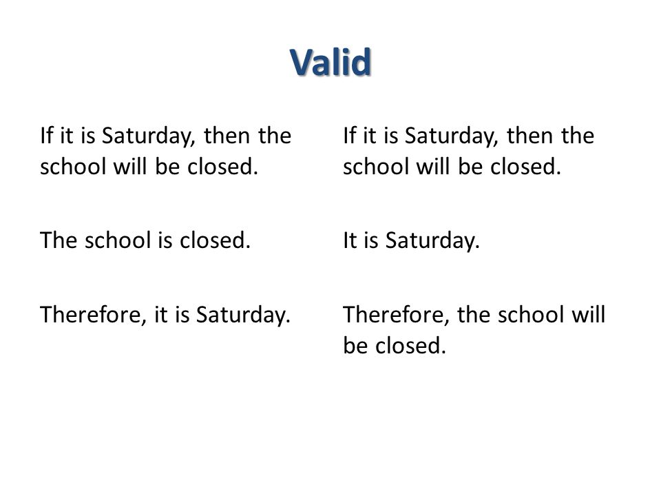 Valid If it is Saturday, then the school will be closed. The school is closed. Therefore, it is Saturday.