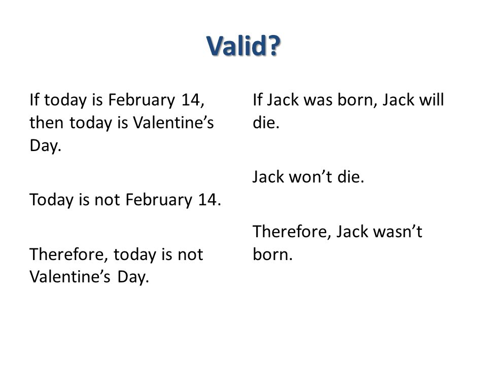 Valid If today is February 14, then today is Valentine's Day. Today is not February 14. Therefore, today is not Valentine's Day.