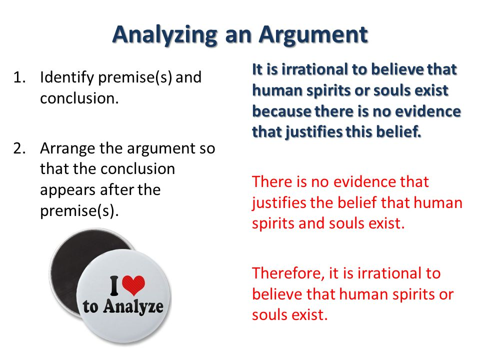 Analyzing an Argument It is irrational to believe that human spirits or souls exist because there is no evidence that justifies this belief.