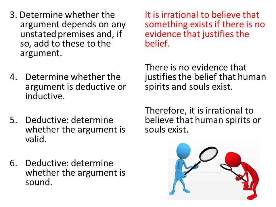 3. Determine whether the argument depends on any unstated premises and, if so, add to these to the argument.