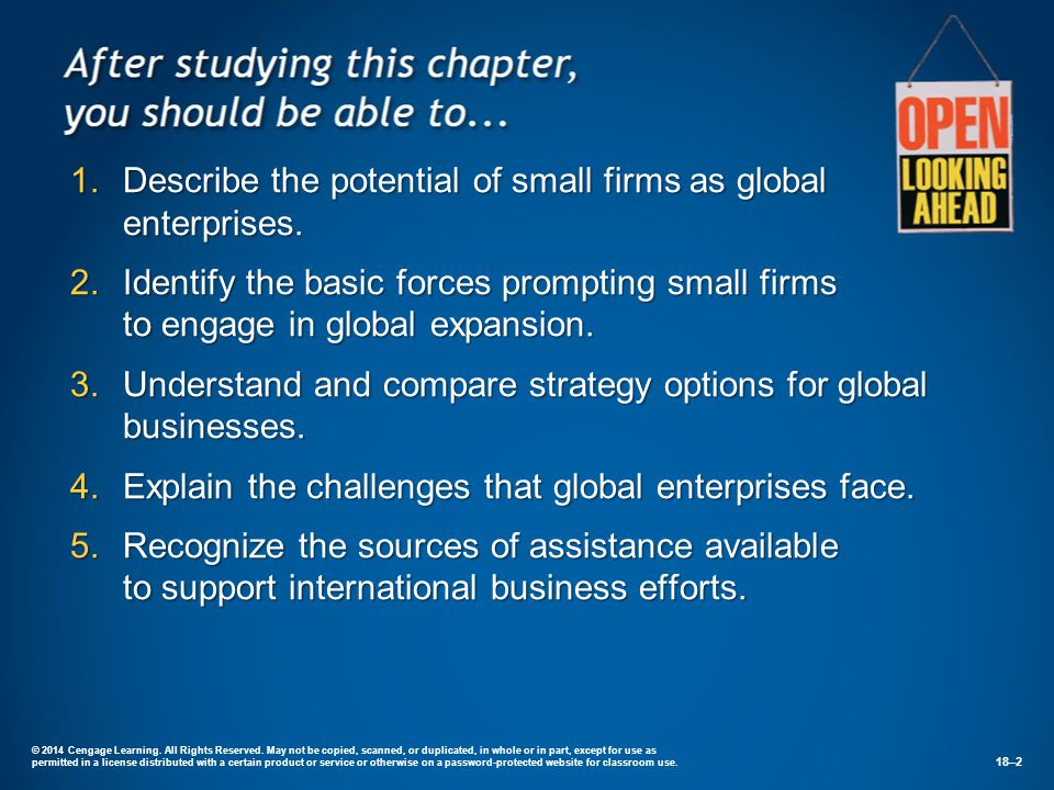 Describe the potential of small firms as global enterprises.