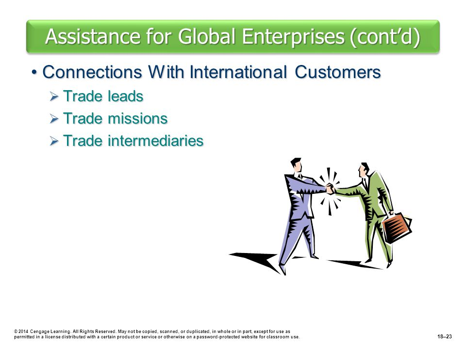 Assistance for Global Enterprises (cont'd)
