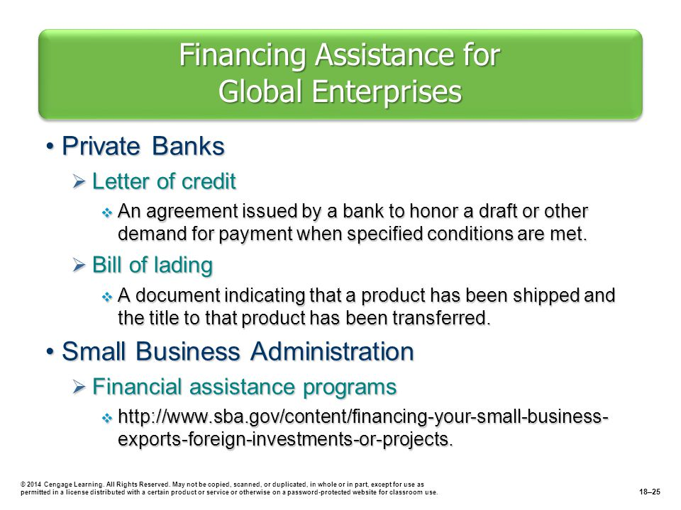 Financing Assistance for Global Enterprises