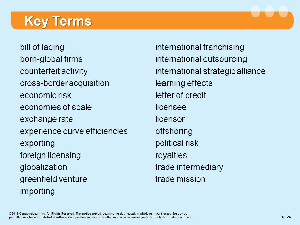 bill of lading born-global firms counterfeit activity cross-border acquisition economic risk economies of scale exchange rate experience curve efficiencies exporting foreign licensing globalization greenfield venture importing