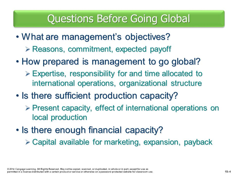 Questions Before Going Global