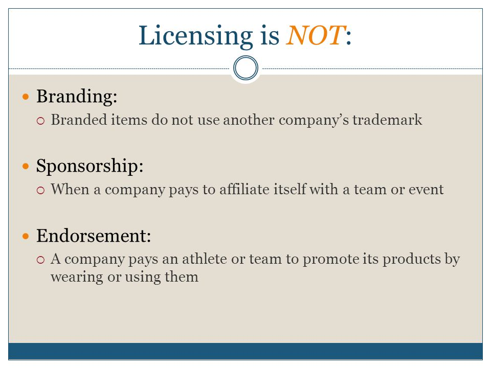 Licensing is NOT: Branding: Sponsorship: Endorsement: