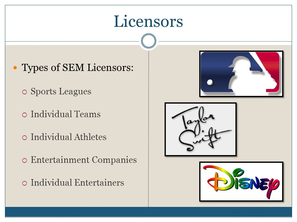 Licensors Types of SEM Licensors: Sports Leagues Individual Teams