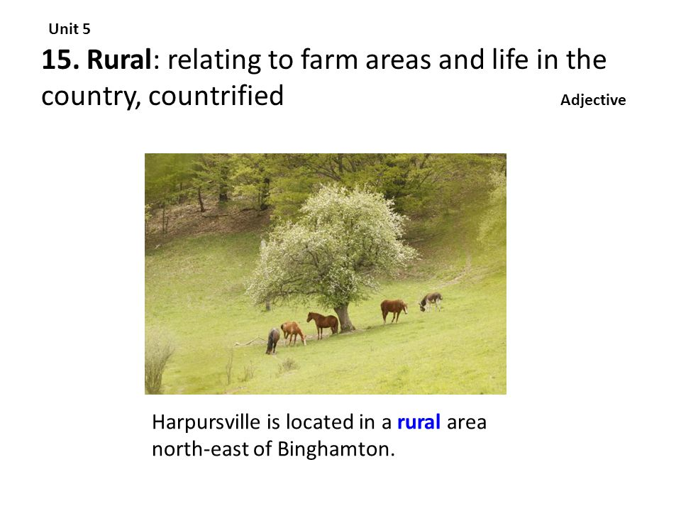 15. Rural: relating to farm areas and life in the country, countrified