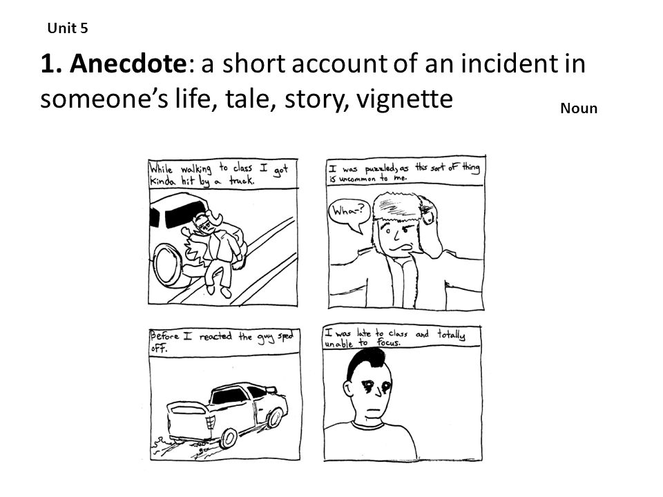 Unit 5 1. Anecdote: a short account of an incident in someone's life, tale, story, vignette Noun