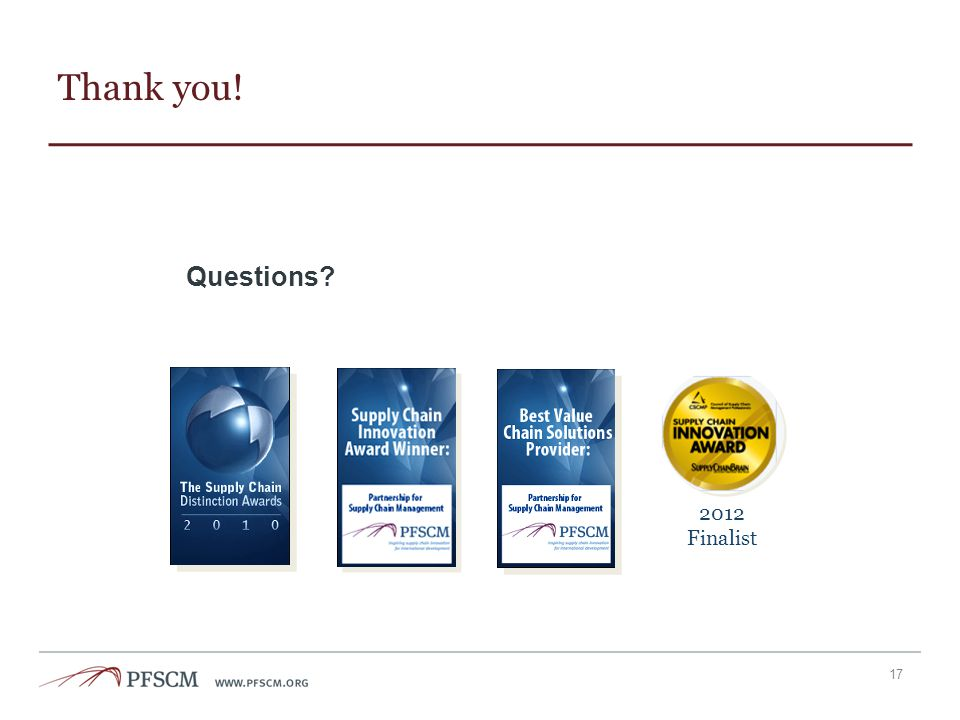 Thank you! Questions 2012 Finalist