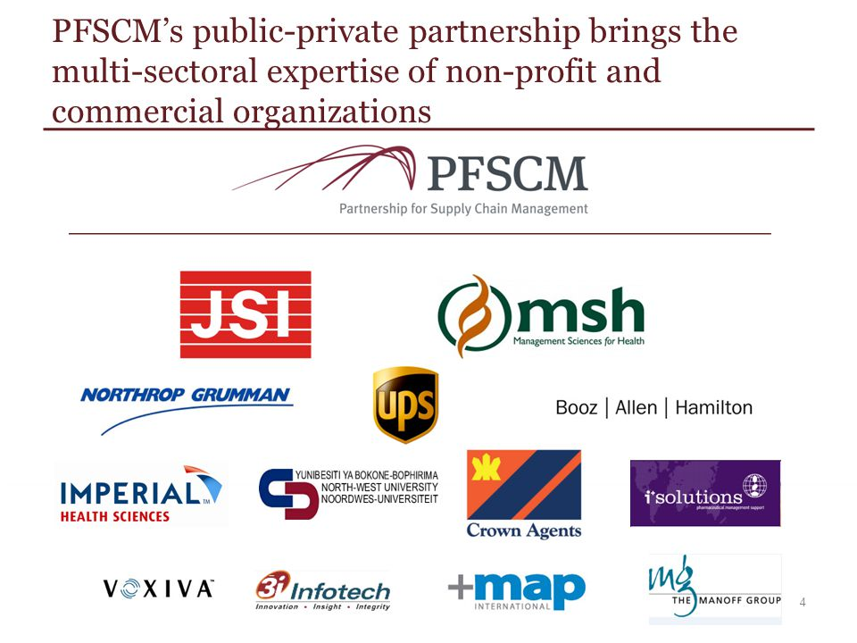 PFSCM's public-private partnership brings the multi-sectoral expertise of non-profit and commercial organizations