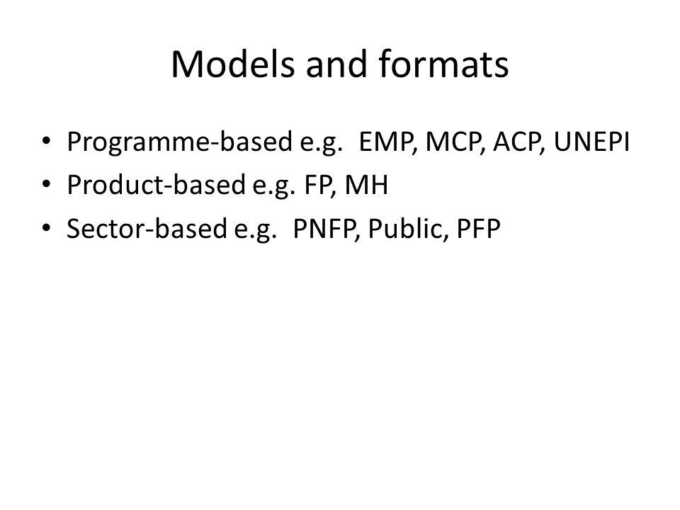 Models and formats Programme-based e.g. EMP, MCP, ACP, UNEPI