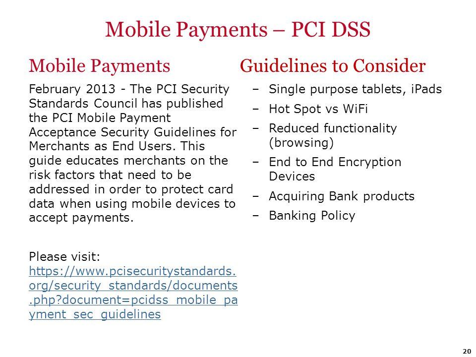 Mobile Payments – PCI DSS
