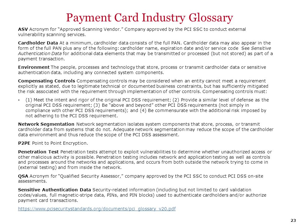 Payment Card Industry Glossary