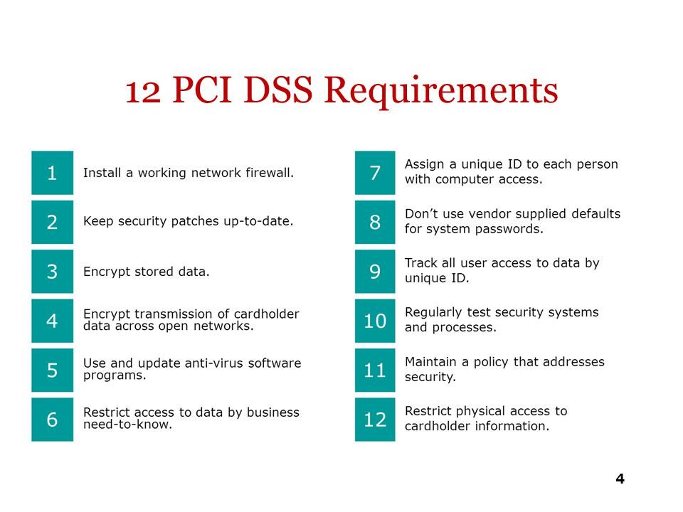 12 PCI DSS Requirements