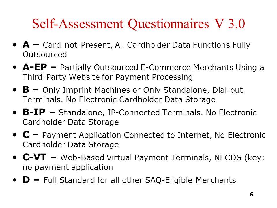 Self-Assessment Questionnaires V 3.0