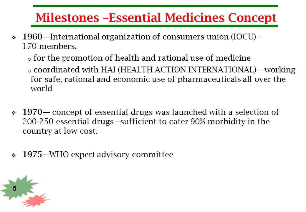 Milestones –Essential Medicines Concept