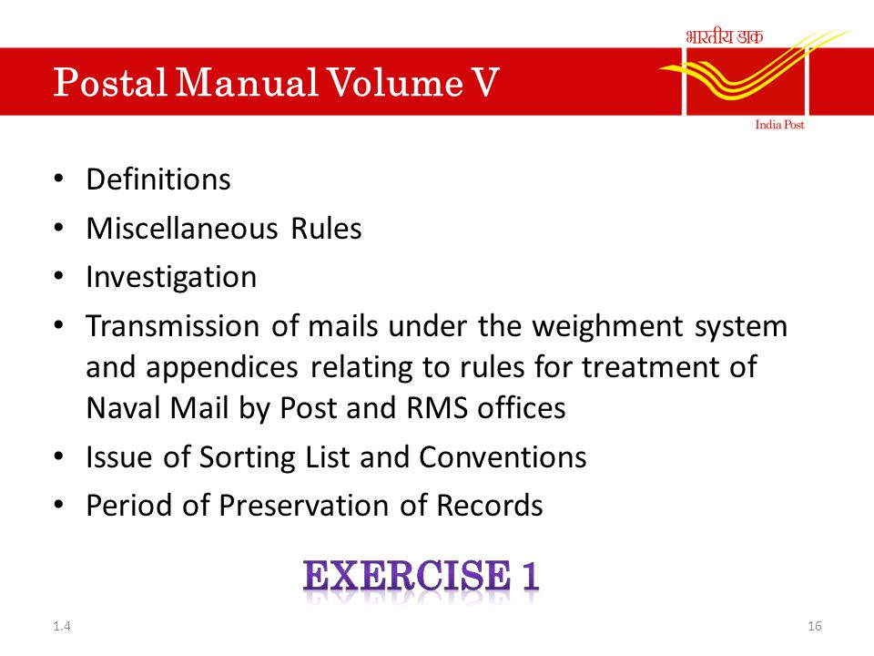 Postal Manual Volume V Exercise 1 Definitions Miscellaneous Rules