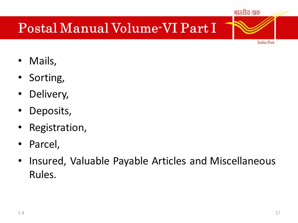 Postal Manual Volume-VI Part I