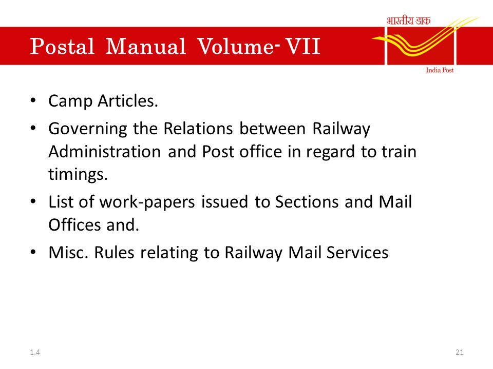 Postal Manual Volume- VII