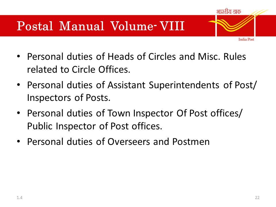 Postal Manual Volume- VIII