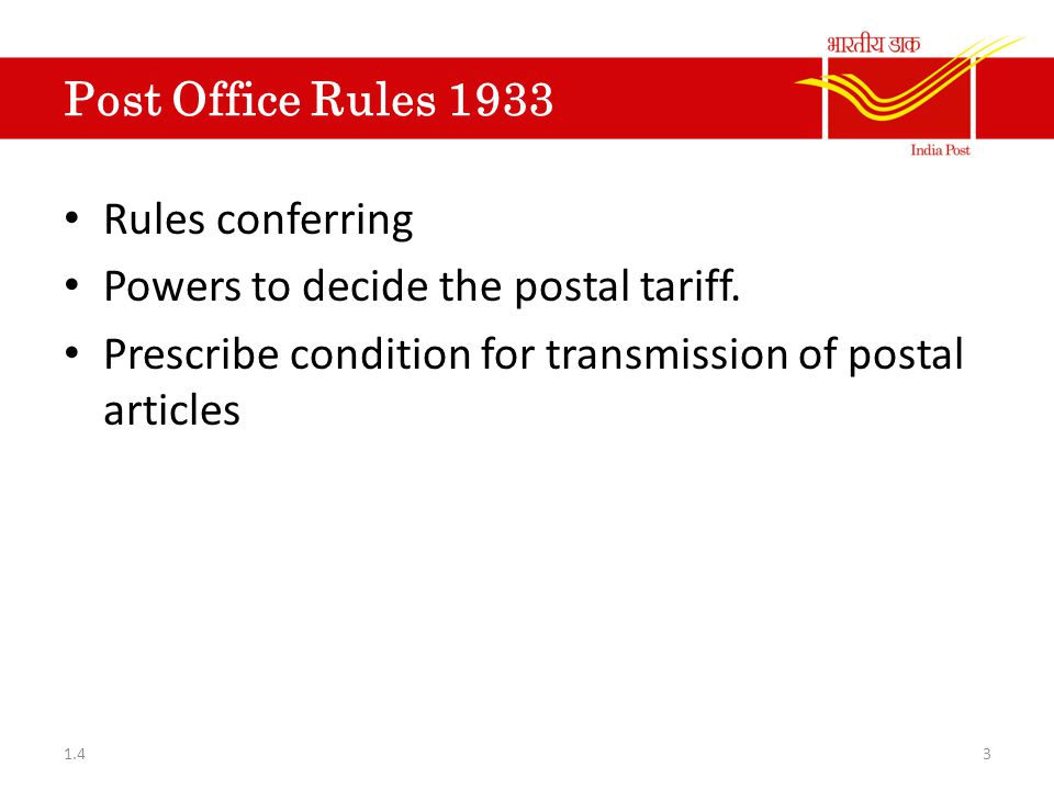 Powers to decide the postal tariff.