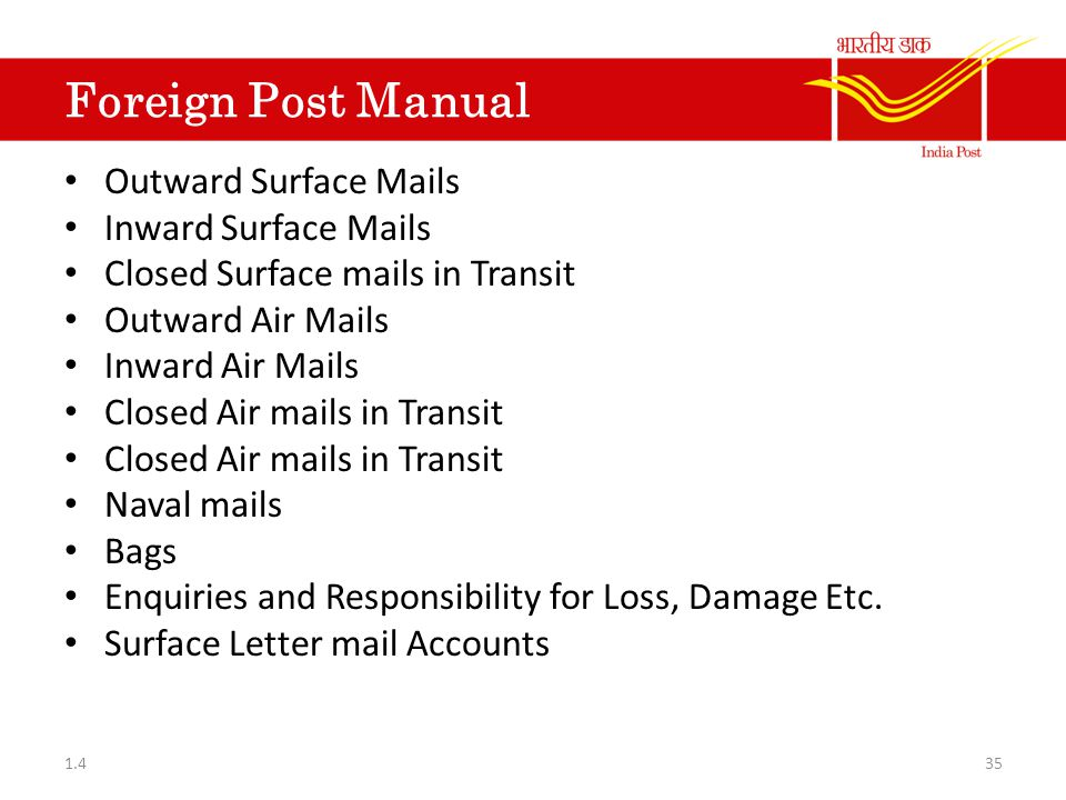 Foreign Post Manual Outward Surface Mails Inward Surface Mails