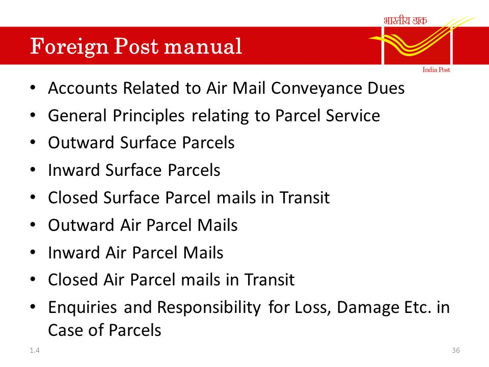 Foreign Post manual Accounts Related to Air Mail Conveyance Dues