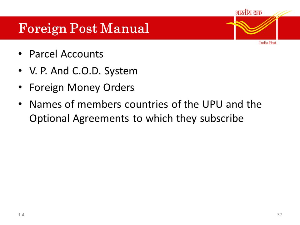 Foreign Post Manual Parcel Accounts V. P. And C.O.D. System