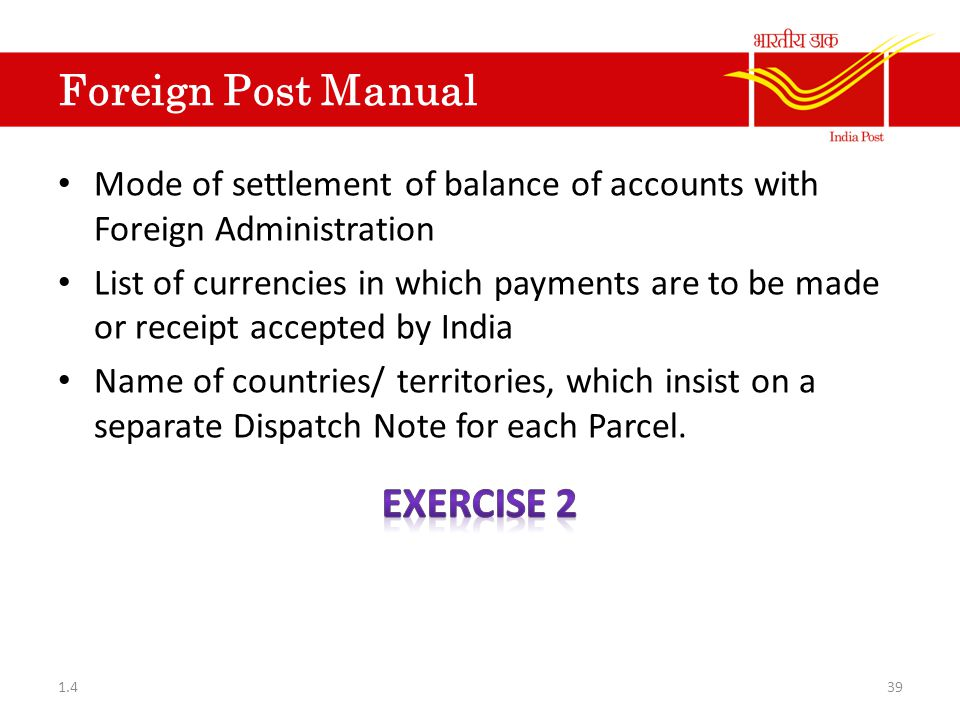 Foreign Post Manual Exercise 2