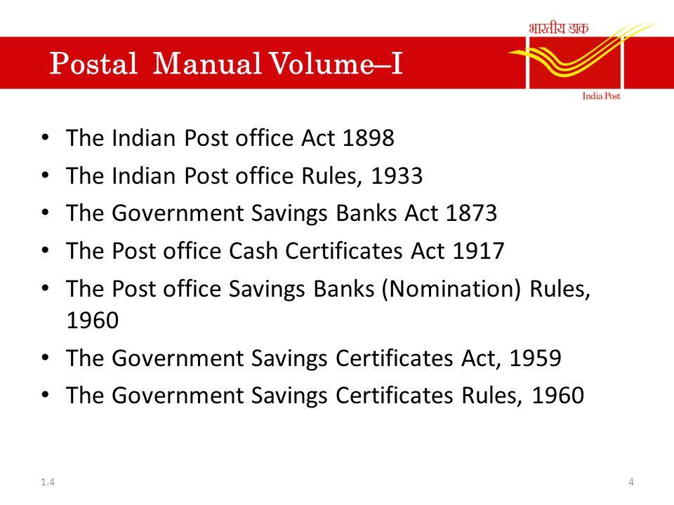 Postal Manual Volume–I
