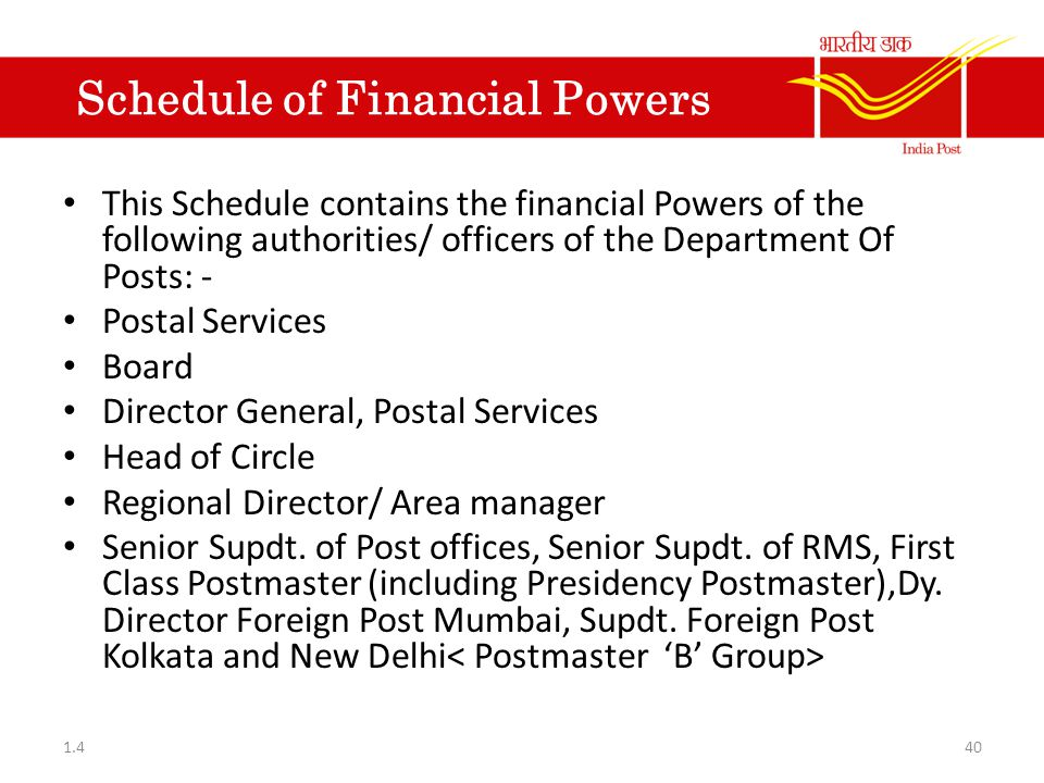 Schedule of Financial Powers