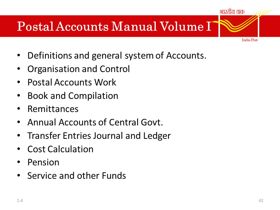 Postal Accounts Manual Volume I