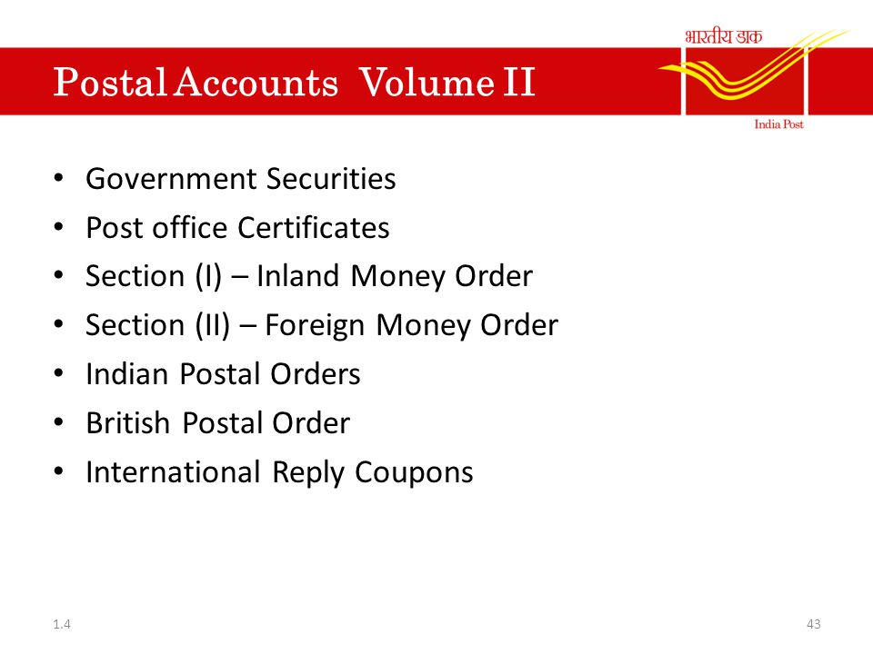 Postal Accounts Volume II