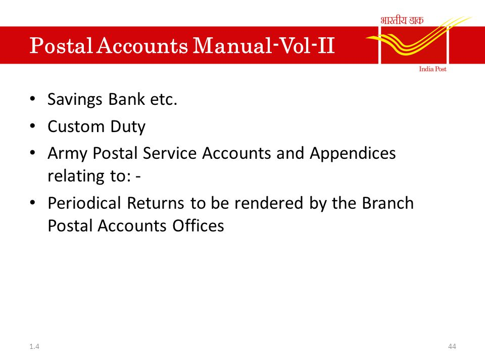 Postal Accounts Manual-Vol-II