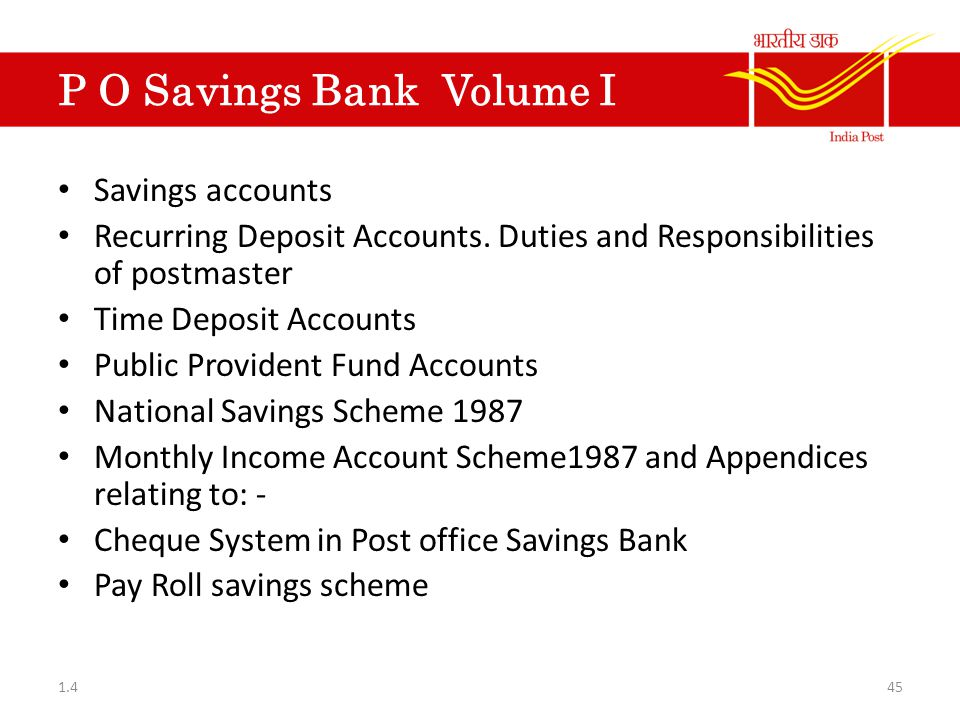 P O Savings Bank Volume I
