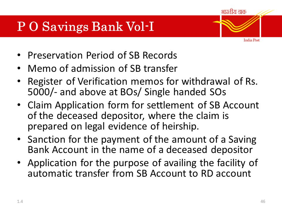 P O Savings Bank Vol-I Preservation Period of SB Records