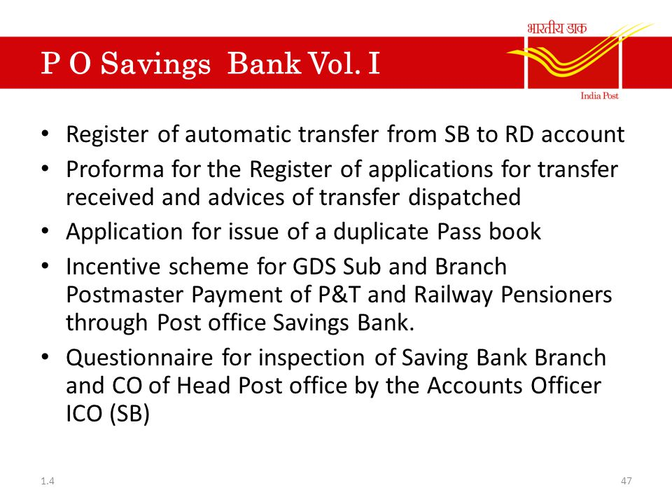 P O Savings Bank Vol. I Register of automatic transfer from SB to RD account.